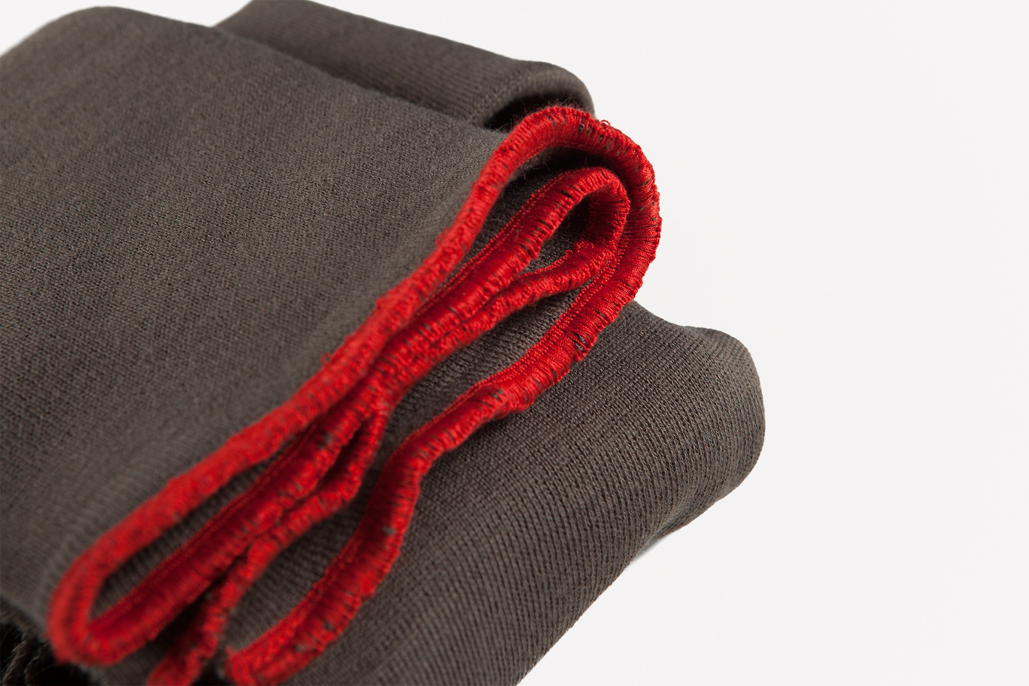 Tour de cou snood vert militaire et rouge cardinal made in France