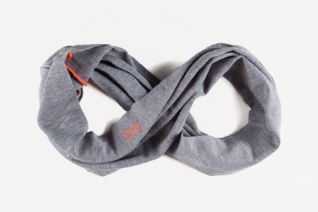 Snood gris souris & orange fluo