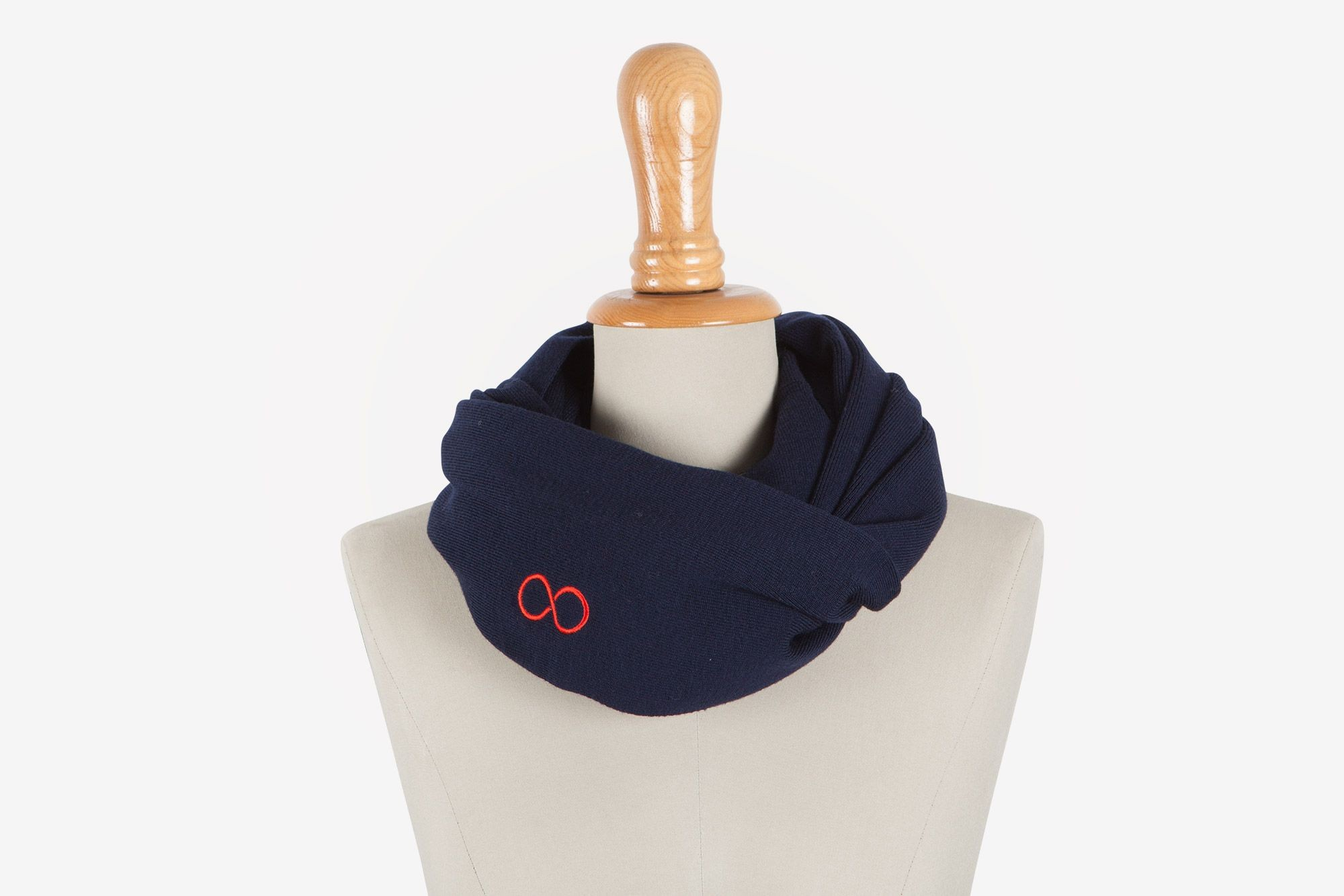 Snood merinos bleu marine & rouge